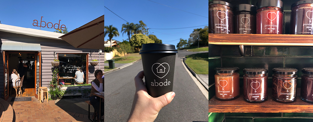 Coffee, homemade jams and brunch in the courtyard at Abode Cafe in Taringa
