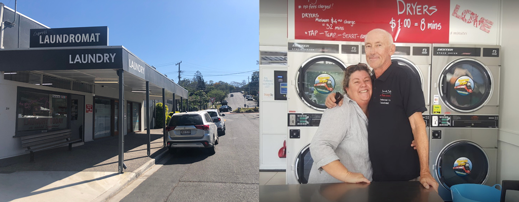 Geoff and Karen in front of their family run shop, the Indooroopilly Laundromat