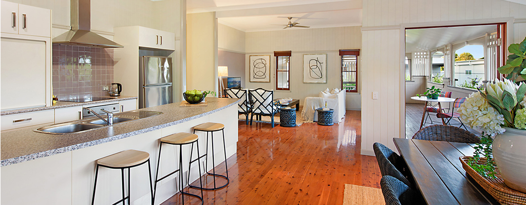 Styled property in Toowong with open plan kitchen lounge and dining room