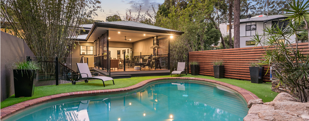 Pool and outdoor entertaining area at a Taringa house