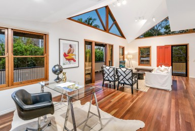 House in Toowong with natural light, large living area and office space.