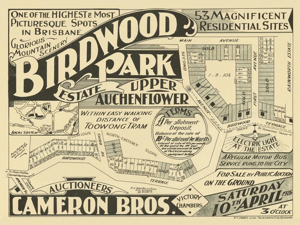 Original map and advertisement of Birdwood Park Estate in Upper Auchenflower (Toowong) 1926